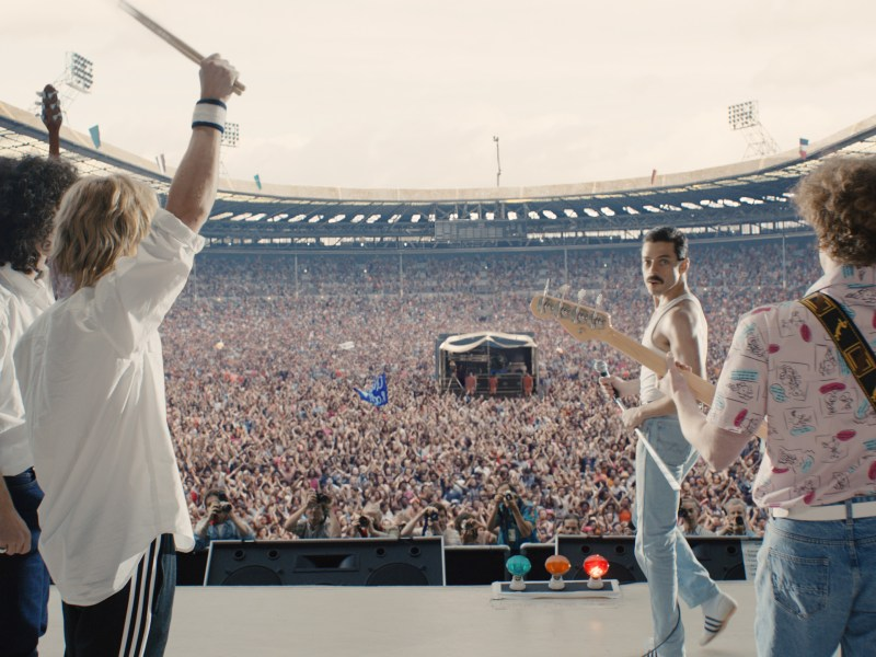 Gwilym Lee (Brian May), Ben Hardy (Roger Taylor), Rami Malek (Freddie Mercury), and Joe Mazzello (John Deacon) star in Twentieth Century Fox's BOHEMIAN RHAPSODY.