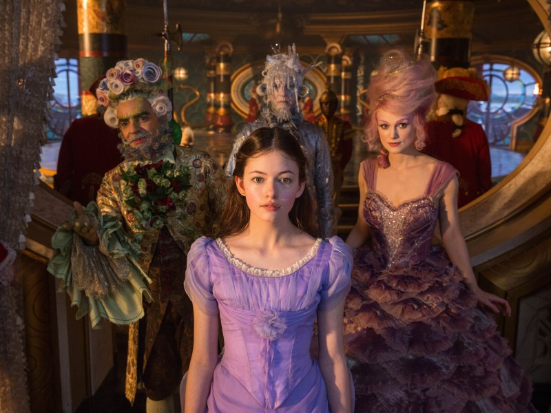 Mackenzie Foy is Clara, Keira Knightley is Sugar Plum Fairy, Eugenio Derbez is Hawthorne and Richard E. Grant is Shiver in Disney's THE NUTCRACKER AND THE FOUR REALMS.