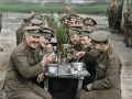 """A restored and colorized image showing a moment from Peter Jackson's acclaimed WWI documentary """"They Shall Not Grow Old,"""" a Warner Bros. Pictures release."""