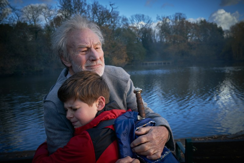 Patrick Stewart and Louis Ashbourne Serkis in The Kid Who Would Be King.