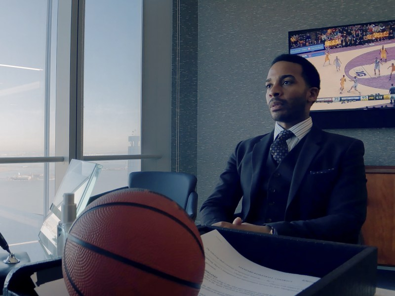 André Holland as Ray Burke in High Flying Bird, directed by Steven Soderbergh.
