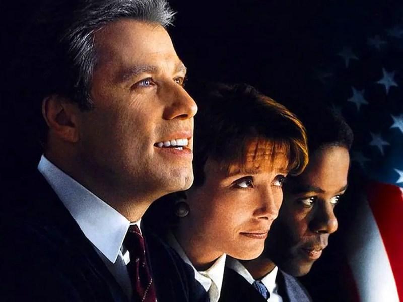 John Travolta, Emma Thompson, and Adrian Lester in Primary Colors.
