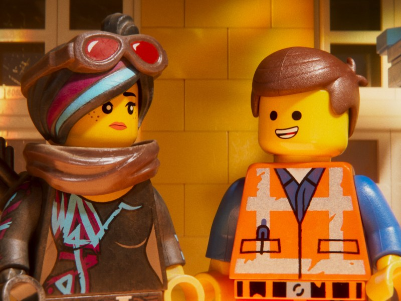 Lucy/Wyldstyle (ELIZABETH BANKS) and Emmet (CHRIS PRATT) in a scene from the animated adventure The Lego Movie 2: The Second Part, from Warner Bros. Pictures and Warner Animation Group, in association with LEGO System A/S, a Warner Bros. Pictures release.