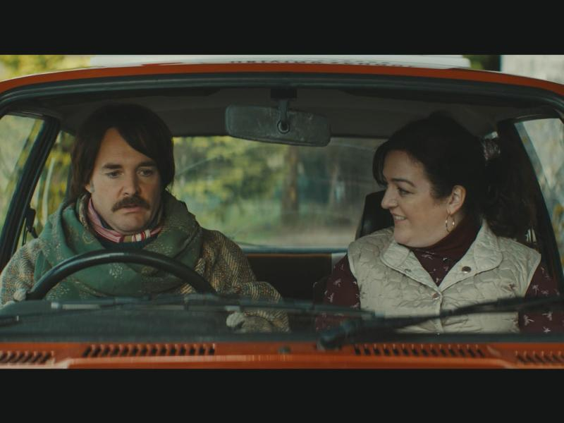 Will Forte (Christian Winter) and Maeve Higgins (Rose Dooley) in Extra Ordinary.