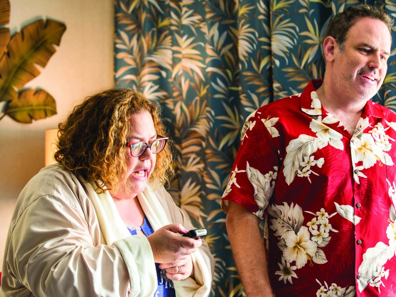 Penny and Larry, played by Julie Brister and Johnny Ray Meeks, in 40 Minutes Over Maui.