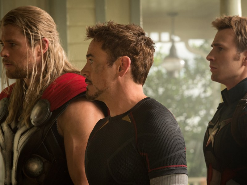 Thor (Chris Hemsworth), Iron Man/Tony Stark (Robert Downey Jr.) and Captain America/Steve Rogers (Chris Evans) in Marvel's Avengers: Age of Ultron.