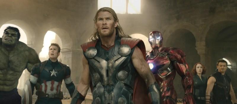 Hulk (Mark Ruffalo), Captain America (Chris Evans), Thor (Chris Hemsworth), Iron Man (Robert Downey Jr.), Black Widow (Scarlett Johansson), and Hawkeye (Jeremy Renner) in Avengers: Age of Ultron.