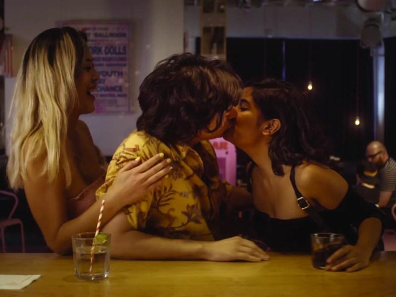 Julia (Teresa Lee), Jake (Josh Fadem), Justine (Christine Medrano) in I Think She Likes You.