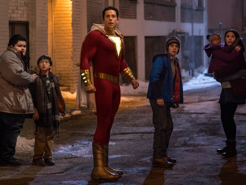 "(L-r) JOVAN ARMAND as Pedro Pena, IAN CHEN as Eugene Choi, ZACHARY LEVI as Shazam, JACK DYLAN GRAZER as Freddy Freeman, FAITHE HERMAN as Darla Dudley and GRACE FULTON as Mary Bromfiels in New Line Cinema's action adventure ""SHAZAM!,"" a Warner Bros. Pictures release."