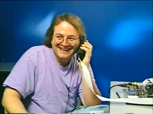 Developer Andy Hertzfeld tests an early model for the smartphone in General Magic.