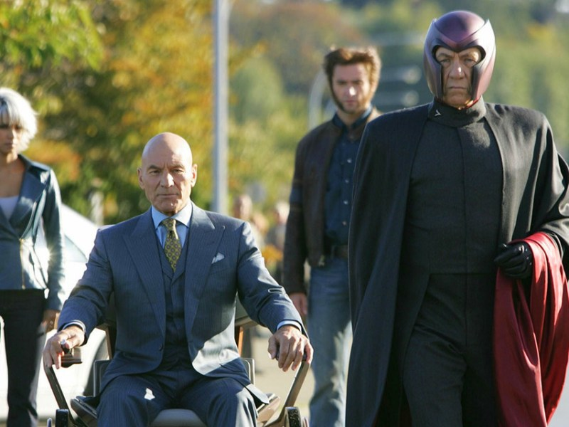 Halle Berry, Patrick Stewart, Ian McKellen, and Hugh Jackman in 20th Century Fox's X-Men: The Last Stand.