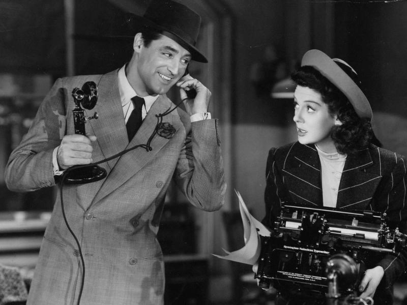 Walter Burns (Cary Grant) and Hildy Johnson (Rosalind Russell) in director Howard Hawks' His Girl Friday.