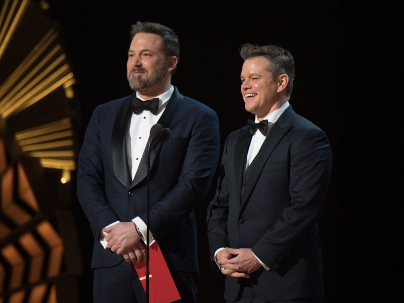 Presenters Ben Affleck and Matt Damon onstage at The 89th Oscars at the Dolby Theatre in Hollywood, CA on Sunday, February 26, 2017.