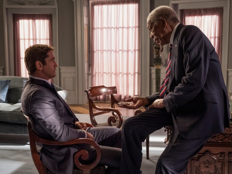 Mike Banning (Gerard Butler) and President Trumbull (Morgan Freeman) in Angel Has Fallen.