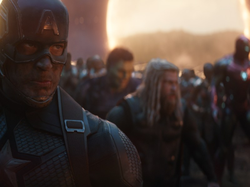 L to R: Captain America (Chris Evans) in b/g Hulk (Mark Ruffalo, Thor (Chris Hemsworth), Iron Man (Robert Downey Jr.) and Black Panther (Chadwick Boseman) in Marvel Studios' Avengers: Endgame.