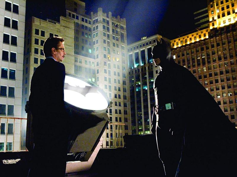 Gary Oldman and Christian Bale in Batman Begins
