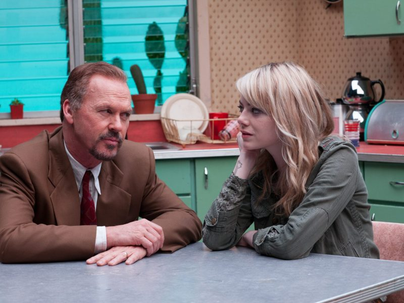 Michael Keaton and Emma Stone in Birdman.