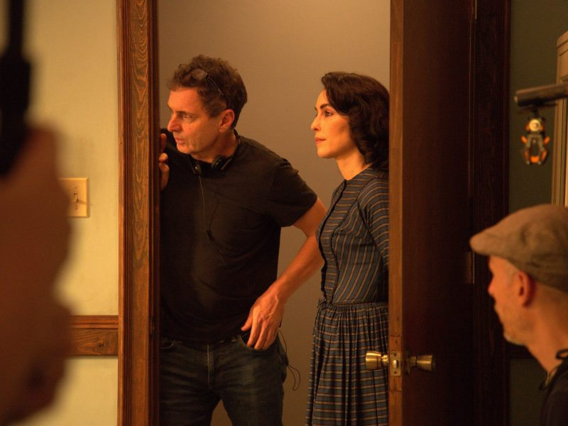 Yuval Adler and Noomi Rapace on the set of The Secrets We Keep