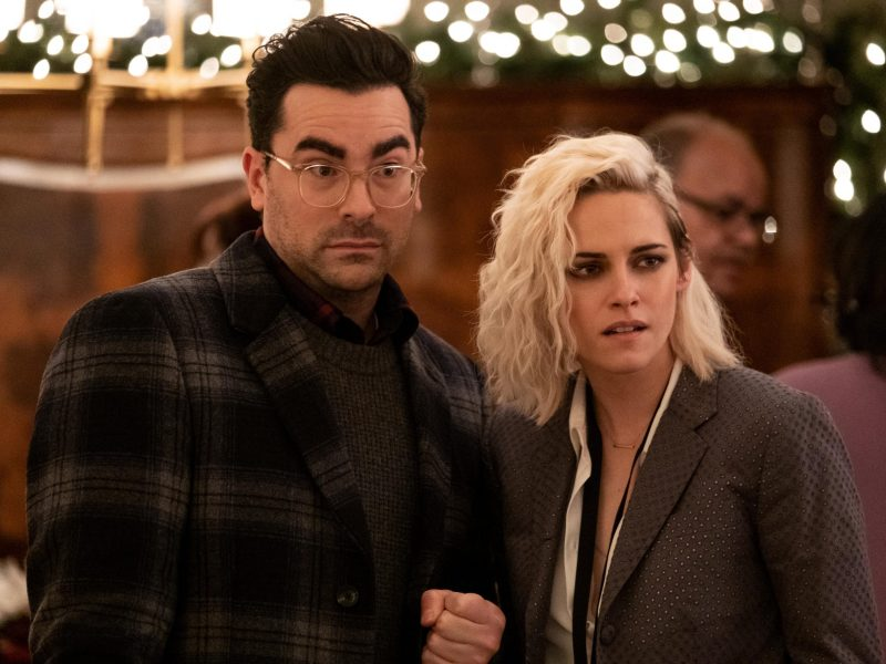 Daniel Levy and Kristen Stewart in Happiest Season.