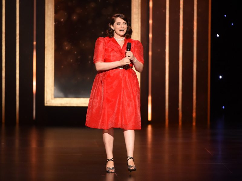 Rachel Bloom speaks on stage on night one of the Television Academy's 2019 Creative Arts Emmy Awards on Saturday, Sept. 14, 2019, at the Microsoft Theater in Los Angeles.