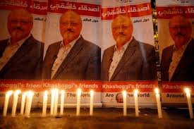 Candles, lit by activists, protesting the killing of Saudi journalist Jamal Khashoggi, are placed outside Saudi Arabia's consulate, in Istanbul
