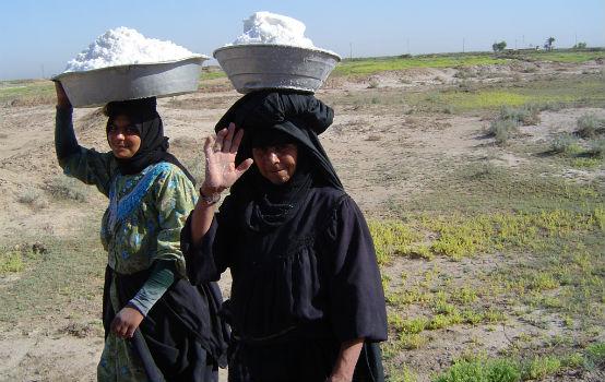 Women collecting salt in Iraq. Credit: James Jeffrey