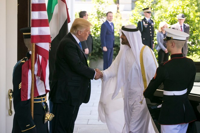 President Trump welcoming Prince Mohammed at the White House in 2017.CreditAl Drago/The New York Times