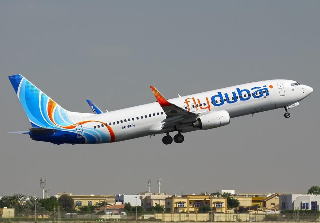 Flydubai jet taking off at the Egal International Airport Hargeisa