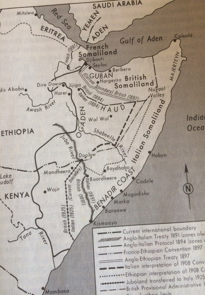 Source of map: Nelson, Harold D. (Ed.) (1982). Somalia: A Country Study, p.15, Washington DC: American University, Foreign Area Studies; Library of Congress