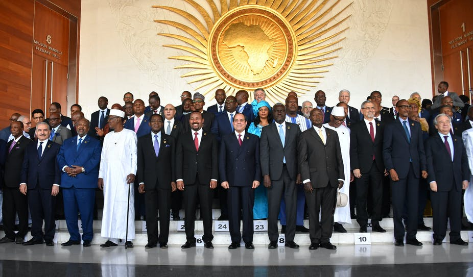 African leaders at the 33rd African Union Heads of State Summit at the headquarters in Addis Ababa, Ethiopia in February 2020.
