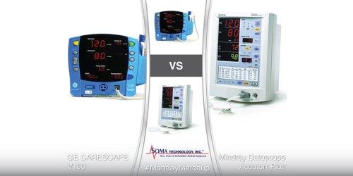 GE CARESCAPE V100 vs Mindray Datascope Accutorr Plus - Patient Monitor Comparison - Soma Technology, Inc.