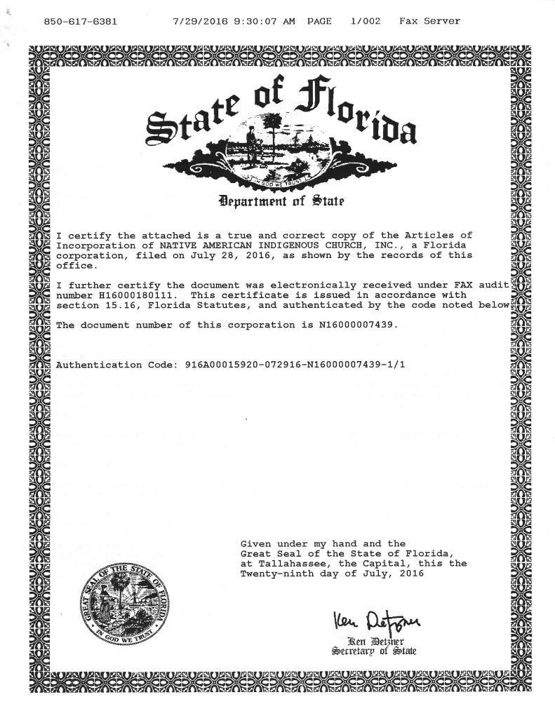 Native American Indigenous Church Florida Corporate Charter