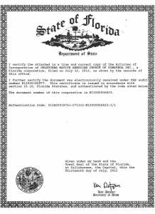 ONACS State of Florida Certificate of Existence