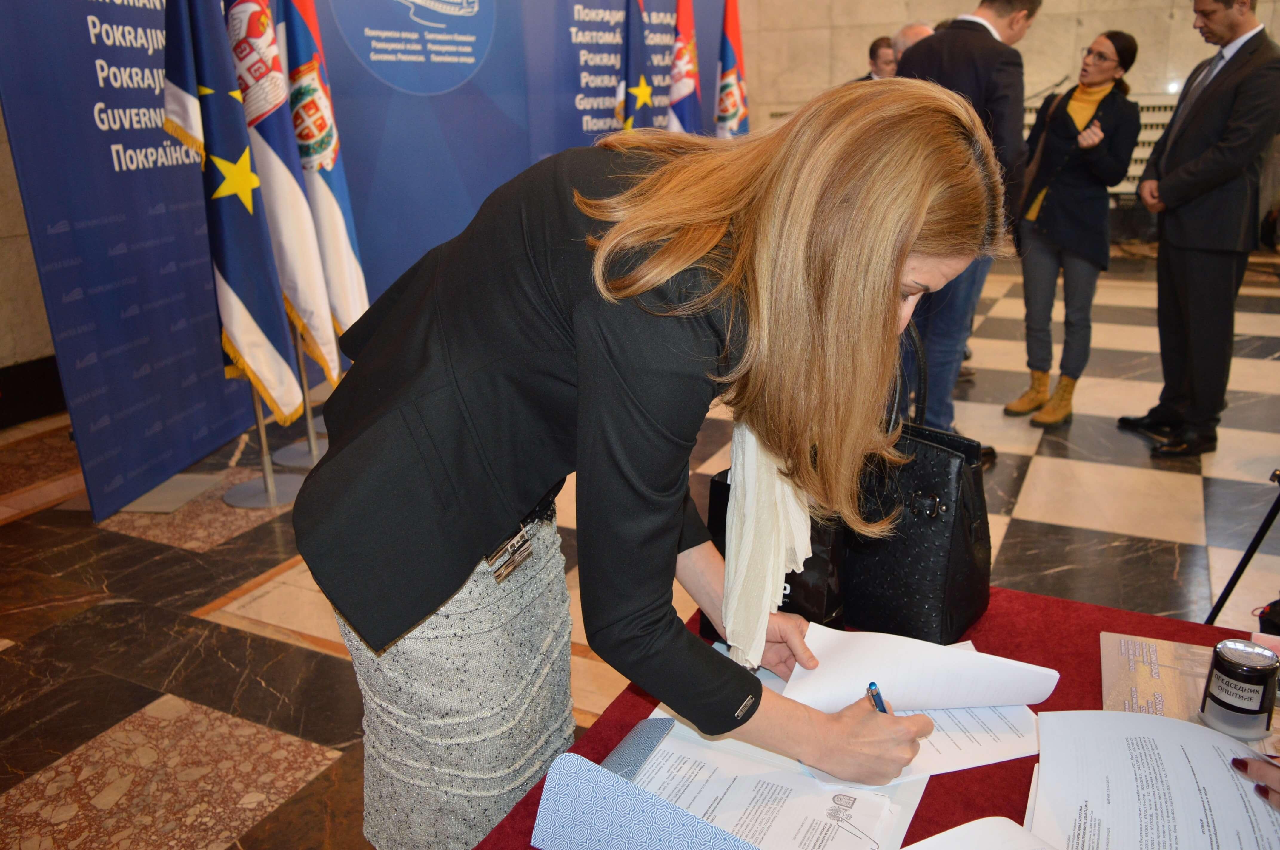 Градоначелница Сомбора Душанка Голубовић потписује Уговоре о суфинансирању пројеката