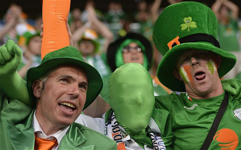 Fans of Republic of Ireland's national f...Fans of Republic of Ireland's national football team react prior to the Euro 2012 championships football match Republic of Ireland vs Croatia on June 10, 2012 at the Municipal Stadium in Poznan. AFPPHOTO/ FABRICE COFFRINIFABRICE COFFRINI/AFP/GettyImages
