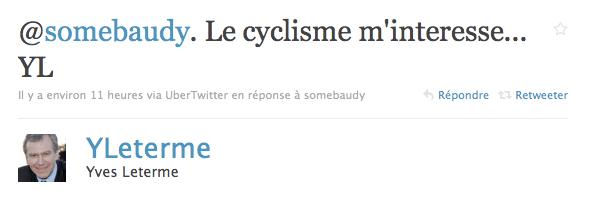 parce que je m'intéresse au cyclisme YL