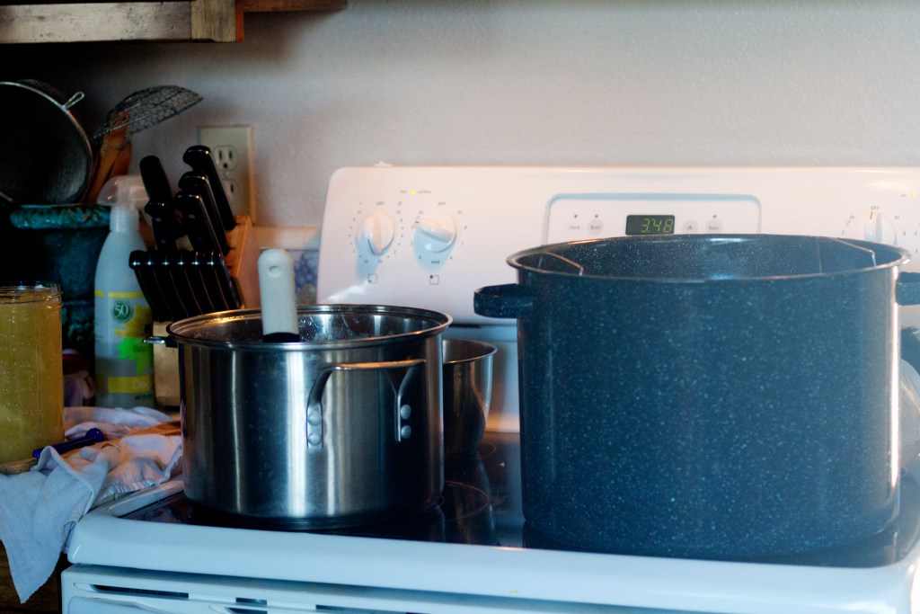 Canning takes up an enormous amount space. I always wish for an extra stove!