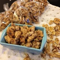 Meringue Walnuts in glass dish for serving and cellophane bags for gifting