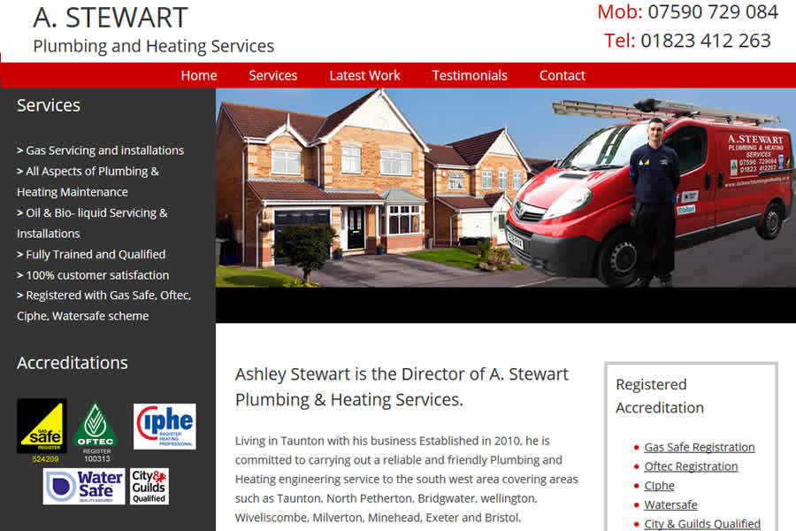 Website for Plumber and Heating engineer in Taunton