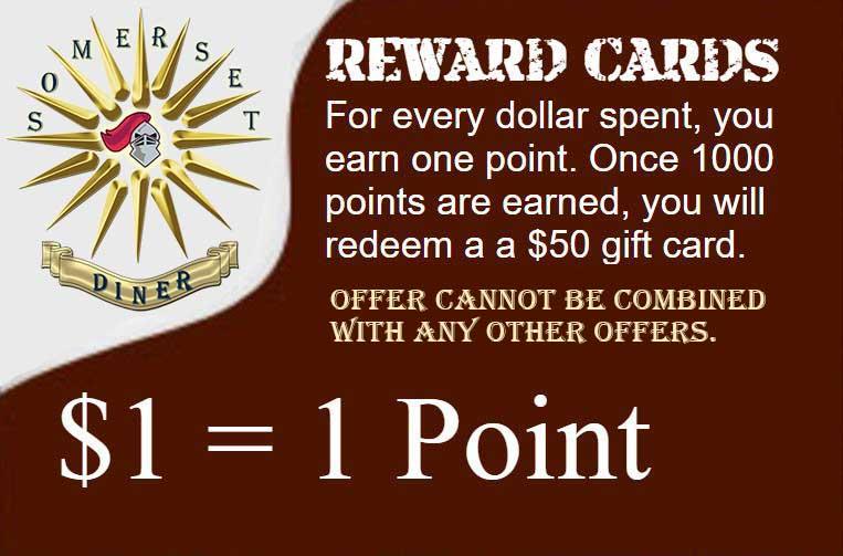 Somerset Diner - Rewards Cards promotion