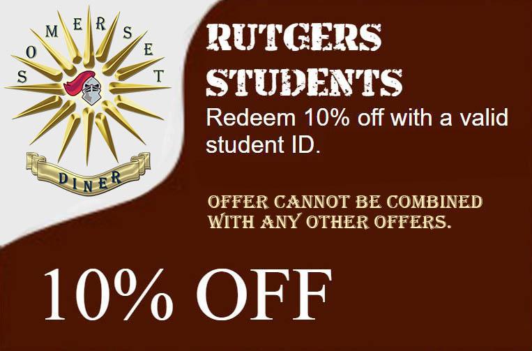 Somerset Diner - Rutgers Students promotion