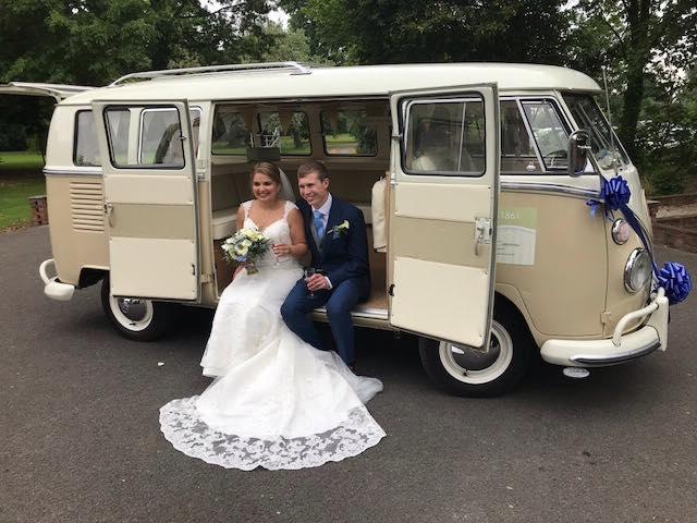 Somerset Wedding Campervans Lois with bride and groom