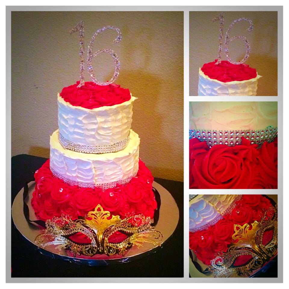Sweet 16 Masquerade Party Themed Tiered Cake