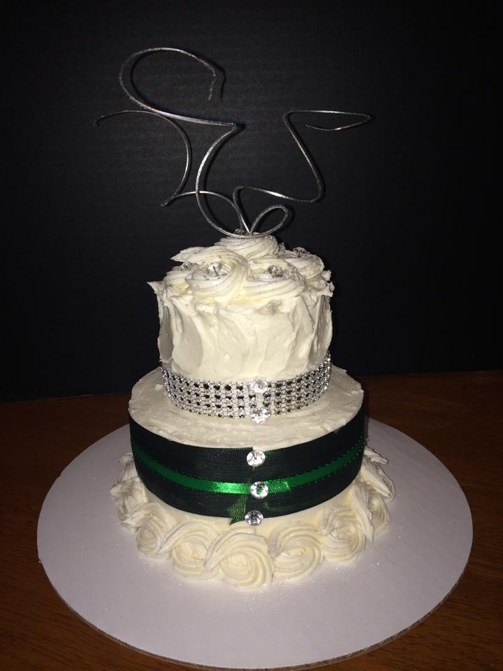 Mini Anniversary Cake with Rhinestone and Ribbon Accents