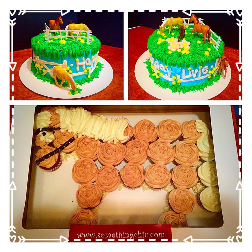 Horse Themed Birthday Cake and Cupcakes