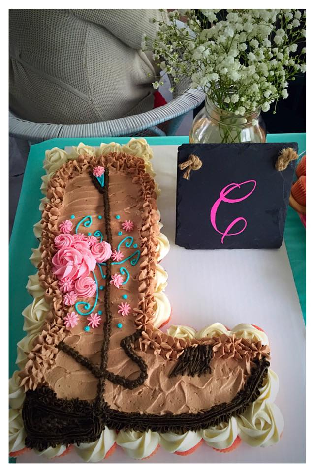 Ladies Western Boot Cupcake Cake