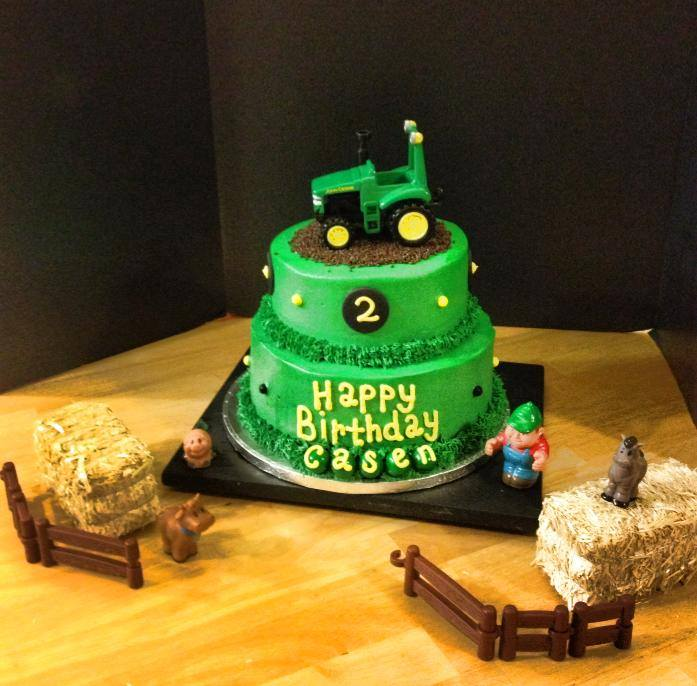 John Deere Tractor and Farm Birthday Cake