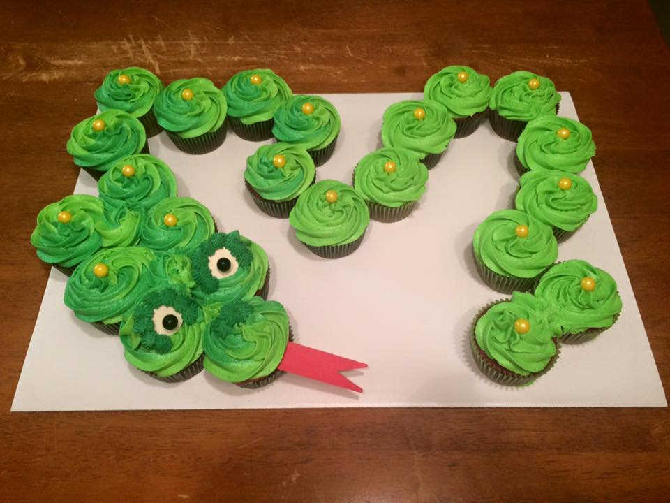 Green Dragon Birthday Cupcakes