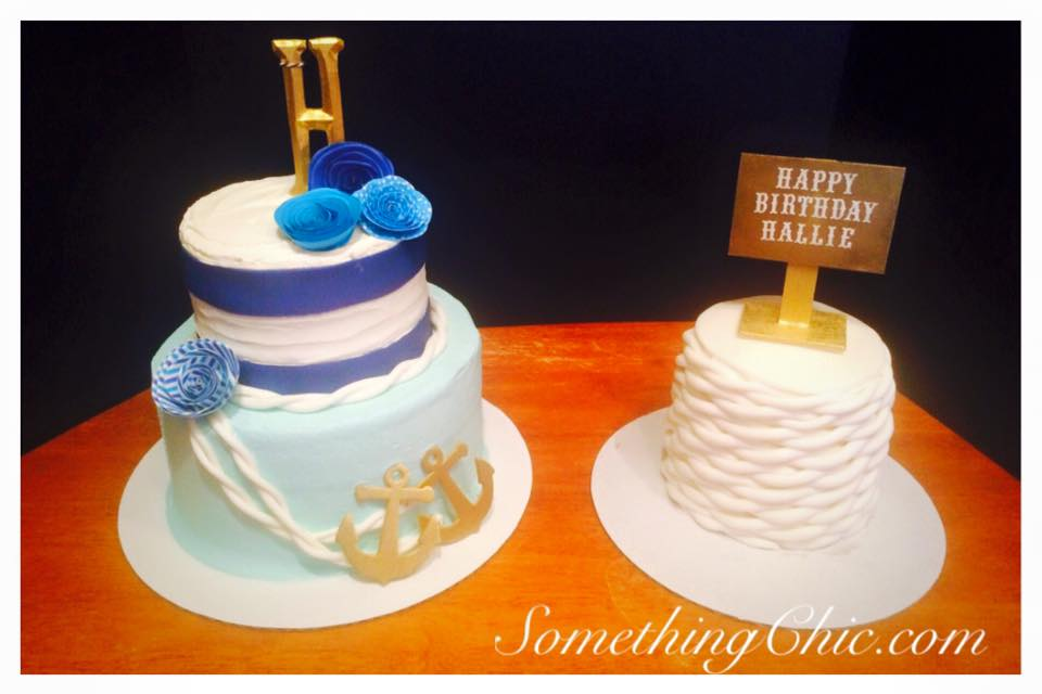 Nautical Themed Birthday Cake with Fondant Ropes, Paper Flowers and Craft Wood Signs and Anchors