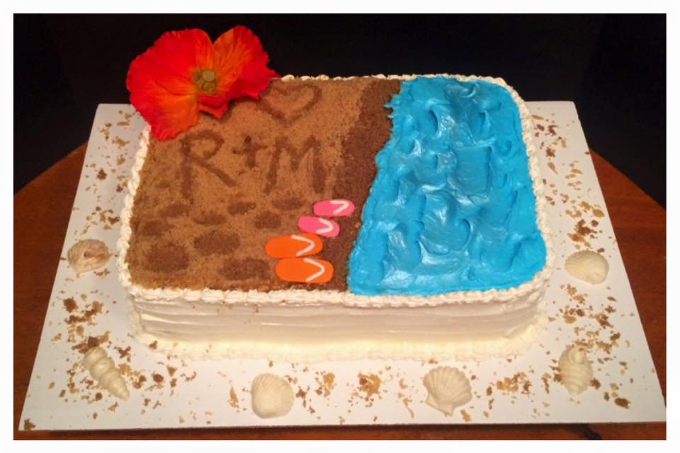 Beach Themed Engagement Party Cake